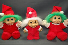 3Pc Xmas Russ Vintage Trolls Red Pajamas with Hats Htf