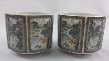 2 TOYO Sansui Porcelain Six Sided Tea Cup Japan Oriental Asian Motif Mug Sake
