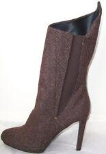 JIL SANDER Brown Wool Tweed Platform Boots 40 10