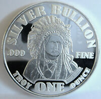 ".999 FINE SILVER ""BULLION""  AMERICAN INDIAN CHIEF BUFFALO 1 TROY OZ ART ROUND"
