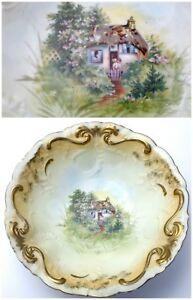 Vintage Bavaria Style Hand-Painted Bowl Woodland Cottage Motif Antique Porcelain