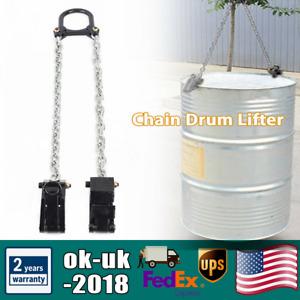 Chain Drum Lifter 2000 lbs Lift Barrel Lifter Vertical Hoist Black Alloy Steel