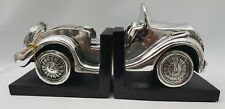 Pair of Silver Chrome Electro Plated Antique Look Car Book Ends