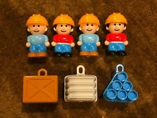 Vintage Lot of 4 CONSTRUCTION WORKERS Figures Men Playset w/ Accessories RARE!