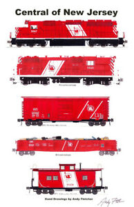 """Central Railroad of New Jersey Red Train 11""""x17"""" Poster Andy Fletcher signed"""