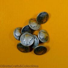 """Mercury"" Silvertone Metal Cuff Buttons - Shank Buttons - 9 per bag - 11mm x 2mm"