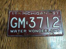 1957 Michigan License Plate 57 MI Tag Water Wonderland GM-3712