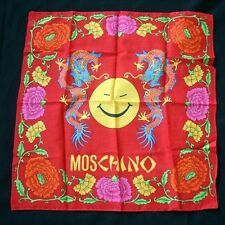 MOSCHINO Dragon Floral Print Cotton Handkerchief