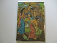 RAI SIGNED UBUD BALI PAINTING TROPICAL FOLK MASTER JUNGLE VILLAGE NUDE PRODUCE