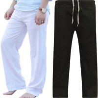 Men Drawstring Elastic Waist Cotton Trousers Straight Wide Leg Casual Loose Pant