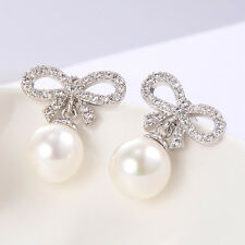 Bow Pearl Stud earrings Crystal White gold filled statement jewelry earings lot
