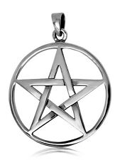 925 solid sterling Silver Large Neo Pagan Wicca Pentacle pendant