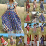 Summer Women Bohemian Printed Waist Dress V-Collar Chiffon Beach Long Dresses