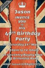 10 x Personalised UNION JACK/BRITAIN/ENGLAND FLAG Birthday/SURPRIS Party Invites