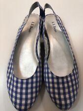 LL Bean Blue/White Check Fabric Flats Shoes Sz 7.5 Slingback Classic Comfy