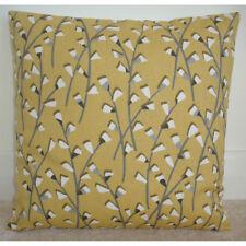 "24"" Cushion Cover Mustard Yellow Ochre Saffron Grey Modern 24x24 Branches Leaves"