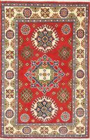 RED/IVORY Geometric Kazak South-west Pakistan Oriental Hand-made Wool Rug 3'x4'