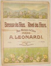 A. LEONARDI BERCEUSE DES FLEURS REVEUIL DES FLEURS SPARTITO PIANOFORTE PIANO 902