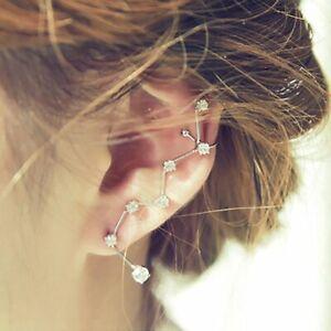 New Charm Butterfly Cross Chain Tassel Ear Clip Earrings Set Ear Cuff Wrap Women