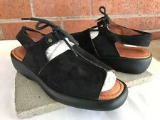 Beautifeel Black Suede Slingback Sandals Lace Up Open Toe Size 37 US 6.5