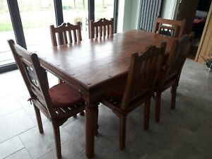 DINING ROOM TABLE & CHAIRS SHEESHAM INDIAN ROSEWOOD THAKAT IRON ELEPHANT CARVERS