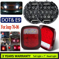For 97-06 Jeep Wrangler TJ 4Pcs LED Headlights High Low DRL Beam+Tail Lights Kit