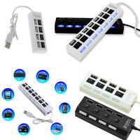 7 Port USB 3.0 Hub 5Gbps High Speed On/Off Switches AC Adapter for PC Laptop Mac