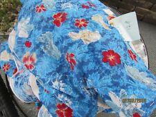 "BLUE FLORAL LYCRA LACE BY THE HALF YARD X 54"" WIDE COSTUME FABRIC"