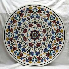 3' round Marble dining coffee side center corner hall Inlay Table lapis  Style