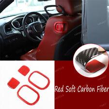 4×Red Real Carbon Fiber Seat Backrest Button Trim For Dodge Challenger 2015-2020