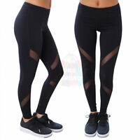 Women Sports Mesh Yoga Pants High Waist Fitness Jogging Gym Workout Leggings