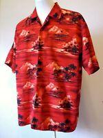 """Men's Hawaiian Shirt Tiki Ku Diamond Head Outrigger Red XL/2XL 50"""" Excellent"""