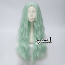 78cm Long Curly Light Creamy Green Party Show Heat Resistant Anime Cosplay Wig