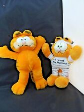 "Garfield -lot of 2- Dakin vintage 1981 Wide eyes Plush 12"" Naked & 10"" Mummy"