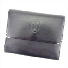 Cartier Wallet Purse Trifold Black Silver Woman unisex Authentic Used T7039