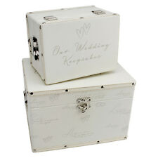 2PC STORAGE BOX WEDDING ANNIVERSARY KEEPSAKE LUGGAGE GIFT MEMORIES TRUNK NEW