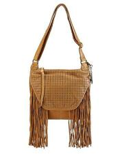 Lucky Brand Flora Flap Cross Body Handbag Fringe Cognac Genuine Leather $188 NEW