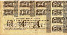 Russian Sheet of Coupons + Talon for Nicolas Railroad bond dated 1867