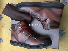 New Gucci Mens Shoes Brown Leather Hiking High Top Boots UK 6.5 US 7.5 EU 40.5