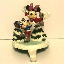 Disney Mickey & Minnie Santa's Best Stocking Hanger Ice Skating 1999