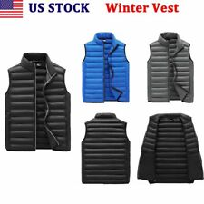 Men's Winter Warm Padded Quilted Vest Body Sleeveless Jacket Coat Outwear US`