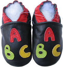 carozoo ABC black 6-12m soft sole leather baby shoes