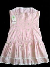 NWT Lilly Pulitzer Palm Beach Sz 8 Embroidered Dress Strapless Framed Top NEW