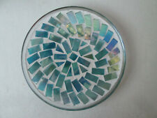 Beatiful Glass Mosaic Rainbow Shades of Blue Pillar Reflective Candle Tile