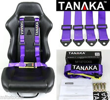 1 TANAKA UNIVERSAL PURPLE 4 POINT BUCKLE RACING SEAT BELT HARNESS 2""
