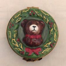 Vintage Limoges France Christmas Wreath with Teddy Bear Centerpiece Trinket Box