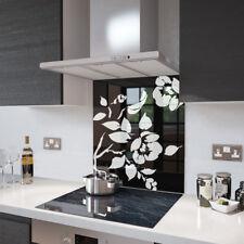 Black Floral - White Flower Glass Splashback - 90cm Wide x 60cm High
