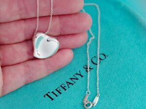 Tiffany & Co Sterling Silver 20mm Full Heart Pendant Chain Necklace 16 Inch