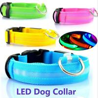 LED Light up Pet Dog Collar Safety Bright Flashing Neon Night Glow Adjustable