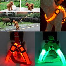 Pet Harness Flashing Luminous Adjustable Safety LED Light Up Nylon Tag for Dog